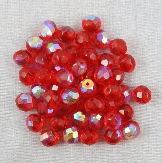 50% OFF SALE - Red Fire Polished 8mm Faceted Czech Glass Round Beads - 50 pieces - A9