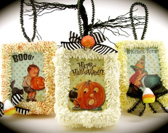 """Halloween Ornament/ Door Hanger with Vintage Images of Pumpkins, Witch & Trick/Treaters Set of 3 """"Sweet Box Ornament"""" Halloween/Autumn Decor"""