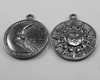Double Sided Sun/Moon - 1 bail, Australian pewter.   SN19
