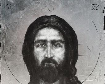 Christ Pantocrator - original graphite drawing and silver leaf