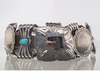 50s Navajo Concho Belt - Sterling & Turquoise Butterflies - Roger Skeets Sr - 290g