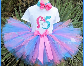 Birthday Unicorn with Number, Party Outfit, Theme Party,Tutu Set,Birthday Tutu Set,Personalized  Sizes 1yr thru 6yrs