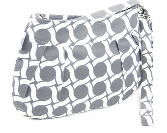Organic Handmade Little Sophisticate Cross Body Sling Purse Gray Circles - Free Shipping