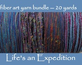 Handmade yarn samples, fiber art yarn bundle 20 yards, purple blue pink sparkly cotton wool metallic variety pack novelty art yarn i299