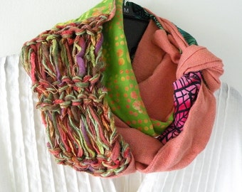 Knit scarf, women's long woven wearable art fashion, multicolor bright green peach black red, Bohemian hipster wool cotton batik Lhasa i716b