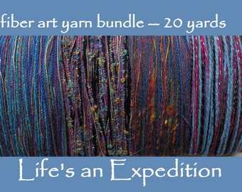Handmade yarn samples, fiber art yarn bundle 20 yards, purple blue pink sparkly cotton wool metallic variety pack novelty art yarn i299