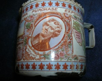 Vintage 1904 St. Louis Louisiana Purchase Fair Enamel Cup