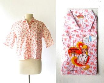 Vintage 60s Blouse / Pink Floral Blouse / 1960s Blouse / Deadstock Vintage / Large L