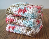 CLEARANCE 3 Crochet Washcloths in Robin