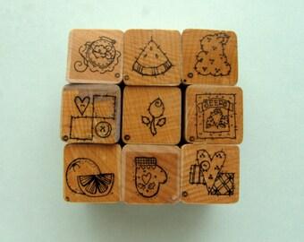 Destash - set of 9 DOTS - CTMH  A sized stamps - stitched set