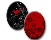 Digital Oval Bird Butterfly Dandelion Swirls Red Grey and Black Images 40x30, 30x22, 18x25 INSTANT DOWNLOAD