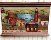 Hand Painted Wood Plaque Autumn Harbor Lighthouses Ships