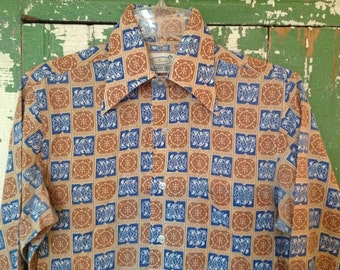 60s FAB BUD BERMA Long Sleeve Shirt Button-up tan blue Size S  14 / 14 1/2