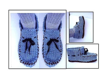 MEN'S Knit Loafer Moccasin Slippers, knitting pattern, men's clothing, knitting supplies, Easy knitting, Size 5 to Size 13, pattern # 605