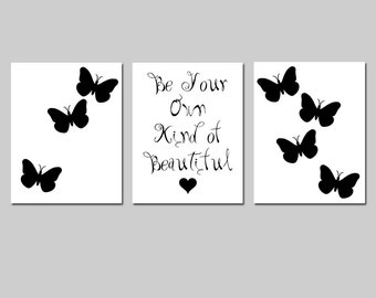 Tween Girl Wall Art Trio - Be Your Own Kind Of Beautiful Inspirational Quote - Butterflies - Set of Three 8x10 Prints - Choose Your Colors