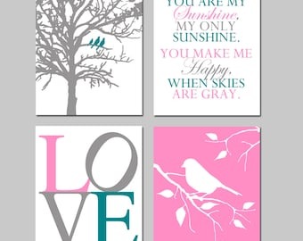 Baby Girl Nursery Art - Set of Four 11x14 Prints - Birds in a Tree, You Are My Sunshine, Love, Bird on a Branch - CHOOSE YOUR COLORS