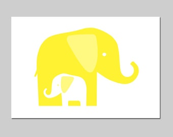 Modern Elephant Nursery Art Elephant Nursery Decor - Mommy and Baby Elephants Print - CHOOSE YOUR COLORS - Shown in Lemon Yellow and More