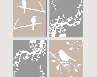 Bird Cherry Blossom Bedroom Art Quad - Set of Four 8x10 Coordinating Prints - Modern Nursery Art - CHOOSE YOUR COLORS