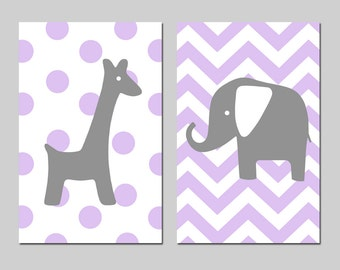 Polka Dot Giraffe Chevron Elephant Nursery Art Duo - Set of Two 13x19 Prints - Choose Your Colors - Shown in Lavender Purple and Dark Gray