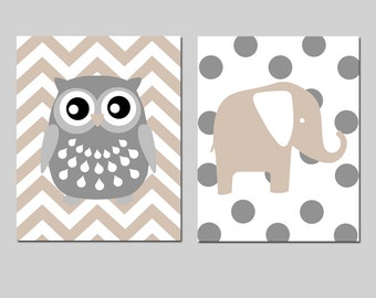 Chevron Owl Polka Dot Elephant Nursery Art - Set of Two 8x10 Prints - CHOOSE YOUR COLORS - Shown in Gray, Taupe, and Pale Gray