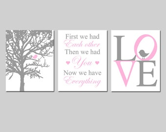 Baby Girl Nursery Art - Baby Bird in a Tree, First We Had Each Other Quote, Birdie LOVE - Set of Three 8x10 Prints