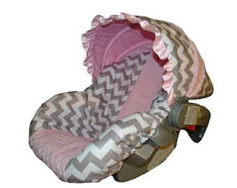 Baby Car Seat Cover - Infant Car Seat Cover - Carrier Slip Cover with Canopy - Girl Carseat Cover  - Grey Chevron with Light Pink Minky Dot