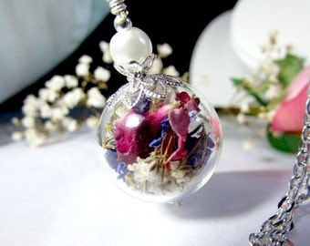 Silver Rea Flower Orb Pearl Hollow LampworkBlass  Bead Round Necklace  - 24 inches