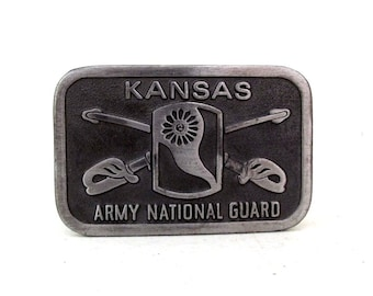 Vintage Kansas Army National Guard - belt buckle - sword emblem