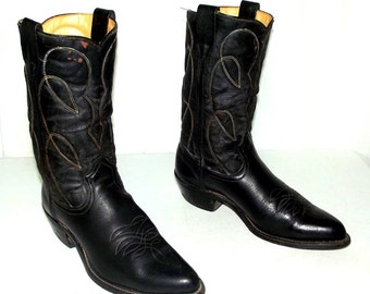 Vintage Black Rockabilly Cowboy Boots size 9.5 d or womens size 11