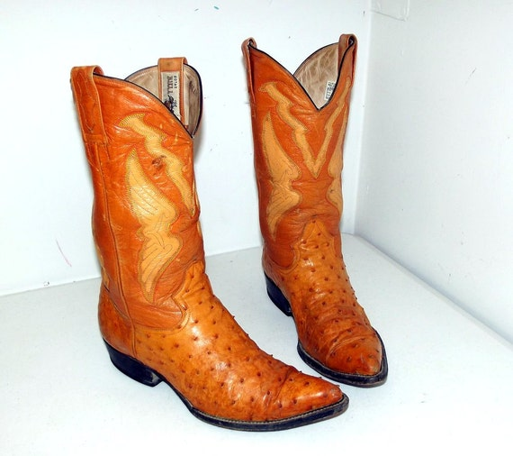 Orange Ostrich Cowboy Boots Size 8 5 Ee Or Womens Size 10 Wide