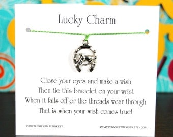 Lucky Charm - Wish Bracelet With Horse On Lucky Horseshoe Charm - Shown In The Color HERBS  - Over 100 Different Colors Are Also Available