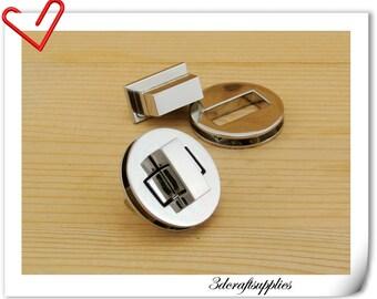 31 mm ( 1.25 inch ) Purse lock  twist  purse turn lock clutch clock  bag lock Nickel N30