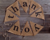 Thank you banner - photo prop - sign - thank you burlap banner - burlap banner - pennant