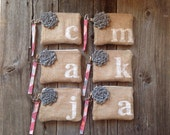 Set of 6 Personalized Bridesmaid Wristlets, Burlap Wedding Clutches, Bridal Party Gift, Monogram Bag, Rustic Wedding Purse, Initial Wristlet
