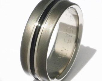 Black Titanium Wedding Band - Black Promise Ring - bk19