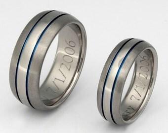Matching Thin Blue Line Titanium Wedding Bands - Wedding Ring Set - stb4