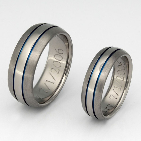 Matching Thin Blue Line Titanium Wedding Bands Wedding Ring