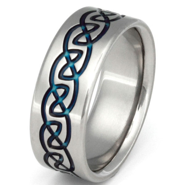 Celtic Blue Titanium Wedding Band Irish Celtic Ring