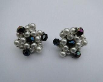 Vintage Pearl Earrings - Clip On Earrings Vintage - Vintage Beaded Earrings - Free Shipping