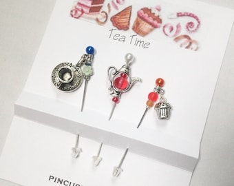 Fancy Pins - Pin Toppers - Decorative Sewing Pins - Embellishment Pins - Tea Time