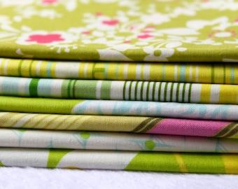 Lime Stashbuilder Bundle Fabric Fat Quarter set of 7