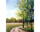 Watercolor landscape Painting PRINT country road Summer seasons trees Landscape lane forest 7x10 GICLEE