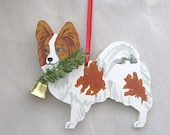 Hand-Painted PAPILLON RED Wood Christmas Ornament Artist Original...Nicely Painted