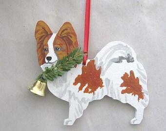 Hand-Painted PAPILLON RED Wood Christmas Ornament...Artist Original, Christmas Tree Ornament Decoration