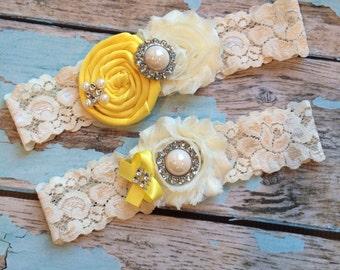 wedding garter /  LEMON  / bridal  garter/  lace garter / toss garter /  garter / vintage inspired lace garter/ U PICK Color