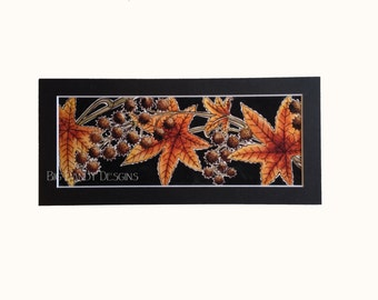 Sweetgum Maple Leaves with Seed Pods Matted Watercolor Print
