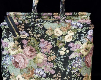 Carpet Bag - Cluster of Flowers and Roses on Black Taperstry
