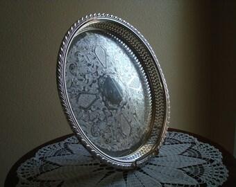 "Pretty Oneida Silver Plate Gallery Tray 13"" Tea, Tea Time, Serving Tray, Silver, Silverplate, Pierced, Party, Wedding, Reception"