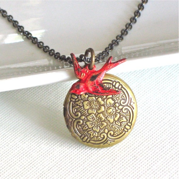 bird locket necklace cardinal keepsake jewelry by