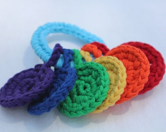 handheld rainbow, crocheted t-shirt yarn key ring toy for baby by yourmomdesigns - montessori inspired